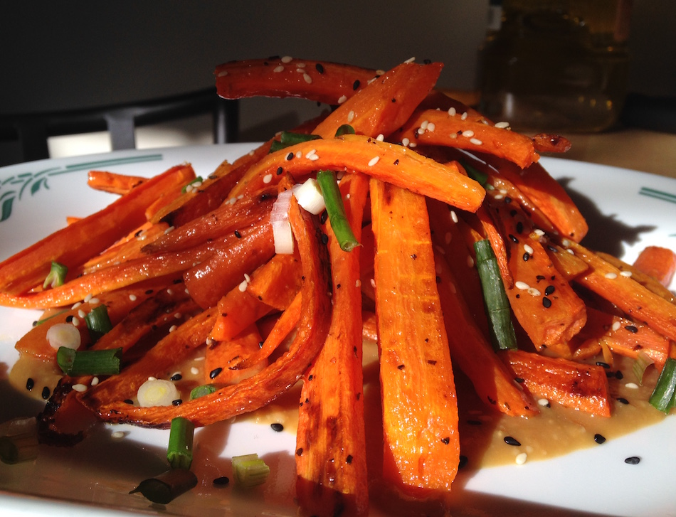 Roasted Carrots with Ginger Miso Dressing