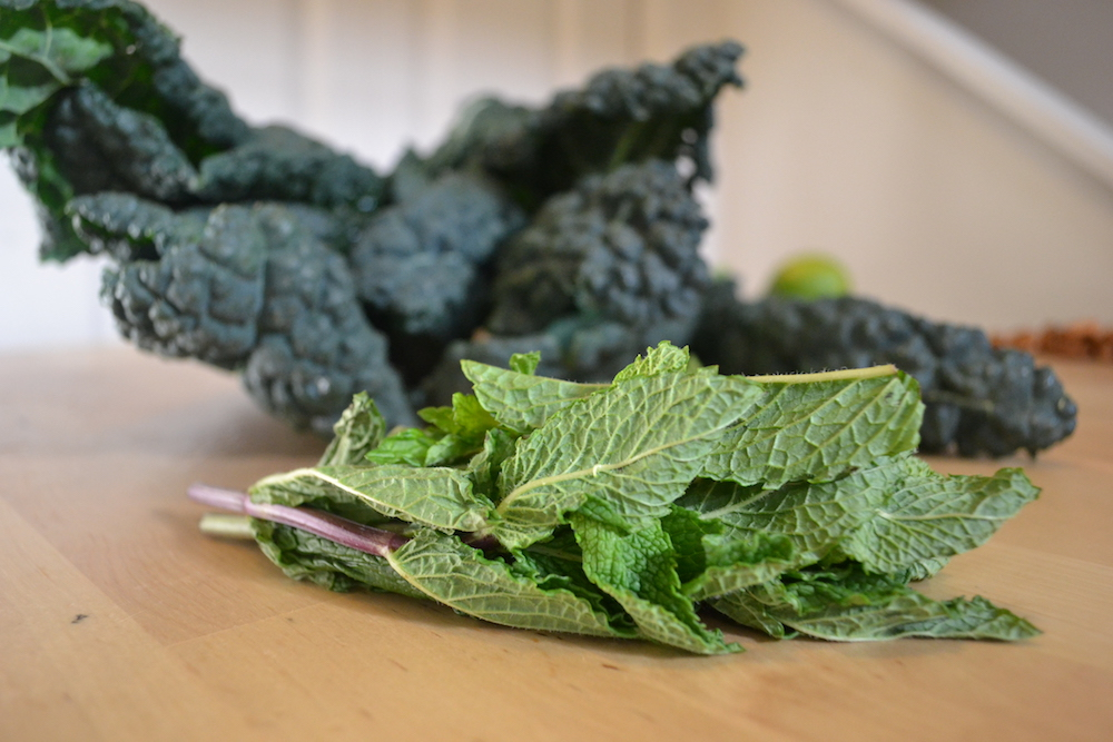 Bright herbs make this kale and mint salad a wintry treat