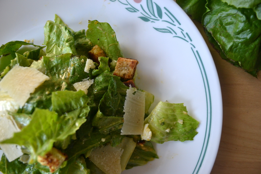 Make a Caesar salad using my easy dressing with hardboiled egg yolks. Full recipe on BigTasteTinySpace.com